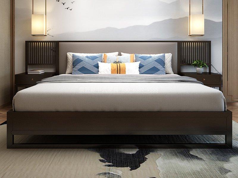 现代中式实木床_新中式卧室家具款式图片,2020年最新款式卧室床实拍图10_儒匠家具